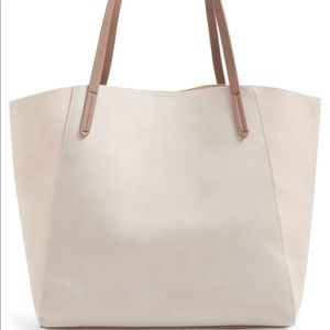 BP - Colorblock Faux Leather Tote - Tan & Gray